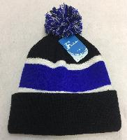 Double-Layer Knitted Hat with PomPom [Black/Royal Blue]